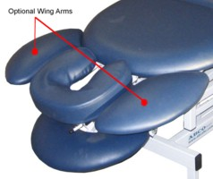 Massage table wing arms