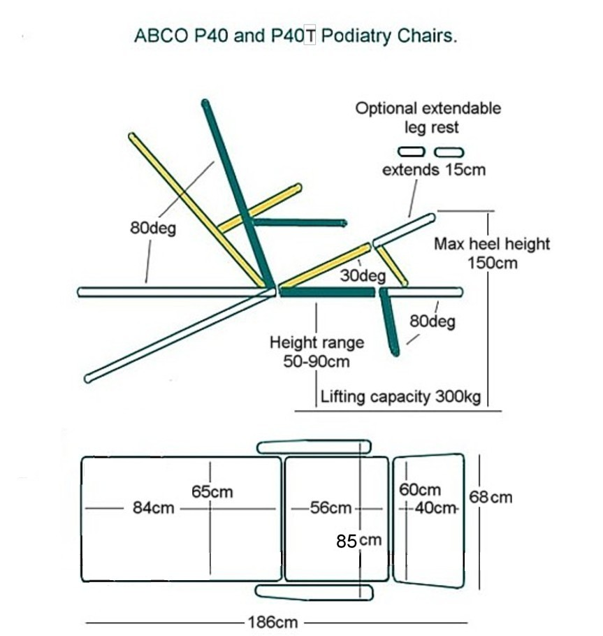 ABCO P40 PODIATRY CHAIR drawing